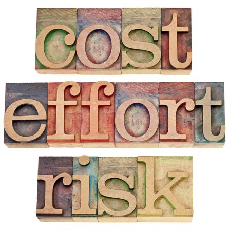 cost, effort, risk - business concept - a collage of three isolated words in vintage wood letterpress printing blocks Фото со стока