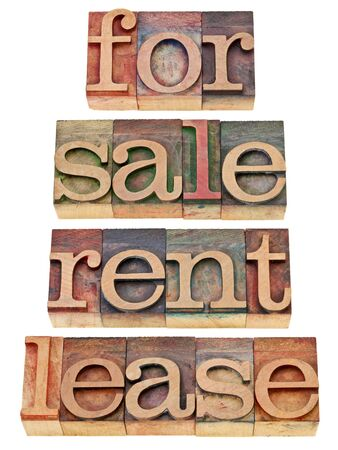 for sale, rent, lease - a collage of isolated words in vintage wood letterpress printing blocks Stock Photo - 12114978