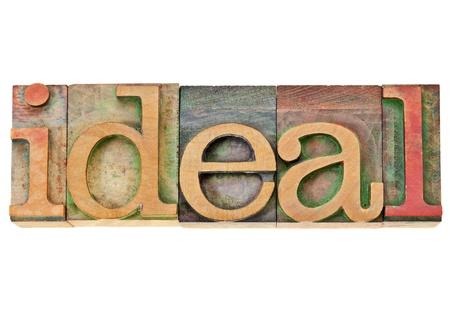 理想 - ビンテージ活版木材の種類の単語 写真素材