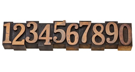 ten arabic numerals zero to nine in isolated vintage wood letterpress printing blocks Stock Photo - 12114966