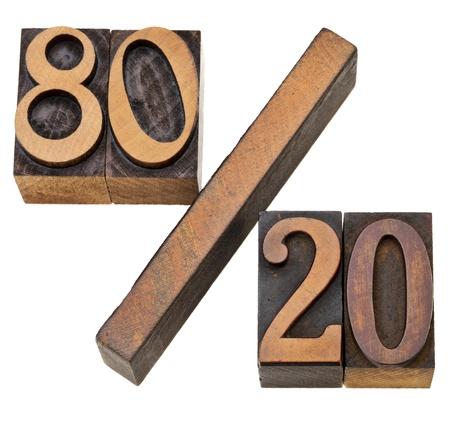 80: Pareto principle or eighty-twenty rule represented on isolated vintage wood letterpress printing blocks