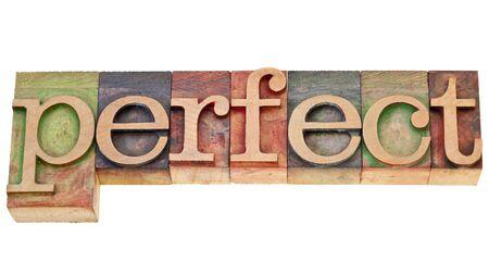 パーフェクト - ビンテージ活版木材の種類の単語 写真素材