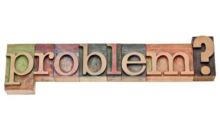 problem question -  isolated  text in vintage  letterpress wood type Banco de Imagens