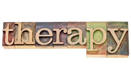 therapy - isolated word in vintage wood letterpress printing blocks Stock Photo - 12114967