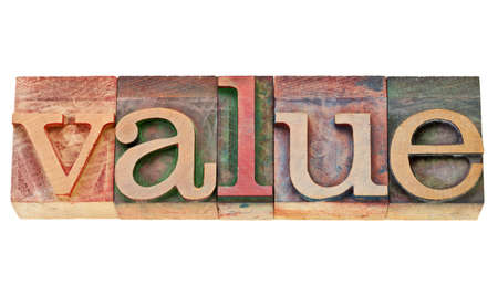 value -  isolated  text in vintage  letterpress wood type Stock Photo - 12114972