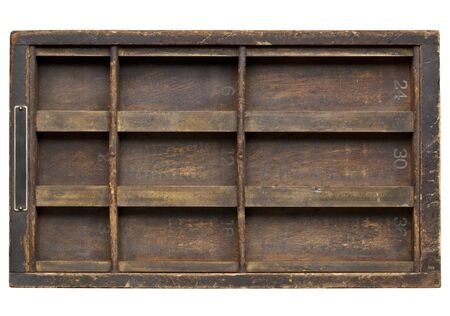 vintage wood  printer  (typesetter) drawer with dividers, isolated on white Stock Photo - 12114975