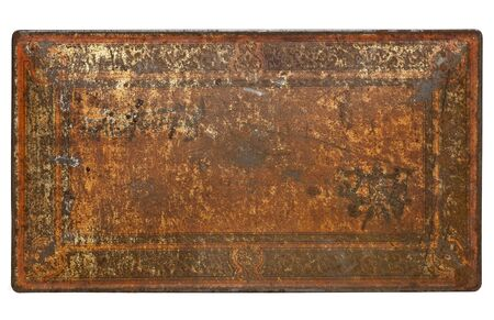 scratched metal: rusty painted metal texture - isolated top of vintage box
