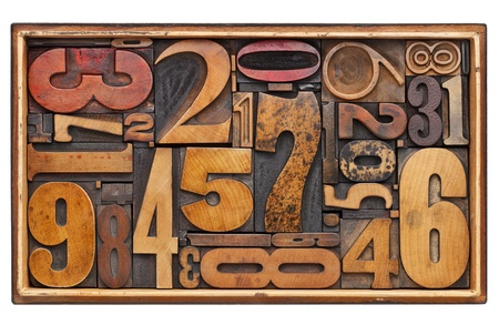 number abstract - random vintage wood letterpress prinitng blocks in a wooden box isolated on white Stock Photo - 12114979