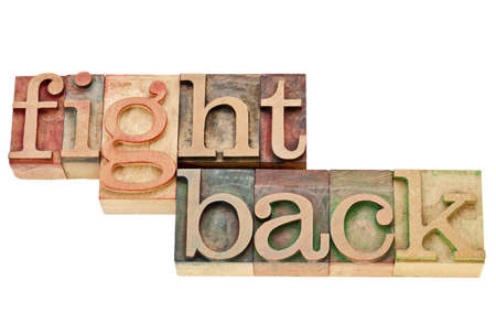 encouragement: fight back - motivation concept - isolated words in vintage wood letterpress printing blocks Stock Photo