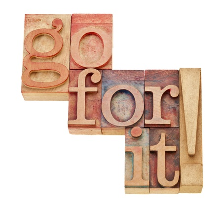go for it - motivation concept - isolated words in vintage wood letterpress printing blocks