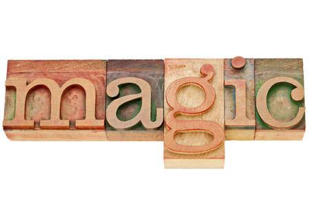 fascination: magic  - isolated word in vintage wood letterpress printing blocks