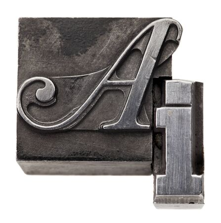 ai: AI - artificial intelligence acronym - isolated vintage metal printing blocks