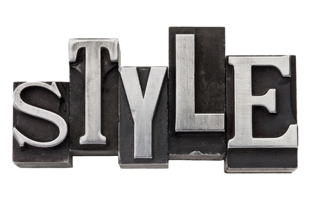 style - isolated word in mixed vintage metal printing blocks photo