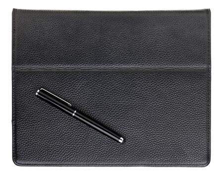 stylus pen and tablet computer in black leather case Stock Photo - 12358946