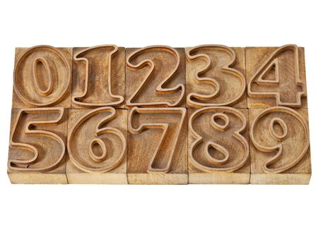 ten numbers from zero to nine in isolated vintage wood letterpress outlined printing blocks Stock Photo - 12358951