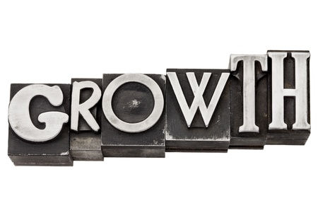 typeset: growth - development concept  - isolated word in mixed vintage metal printing blocks