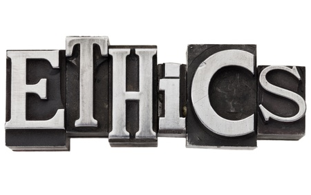 ethics - isolated word in vintage grunge metal type Stock Photo - 12358981