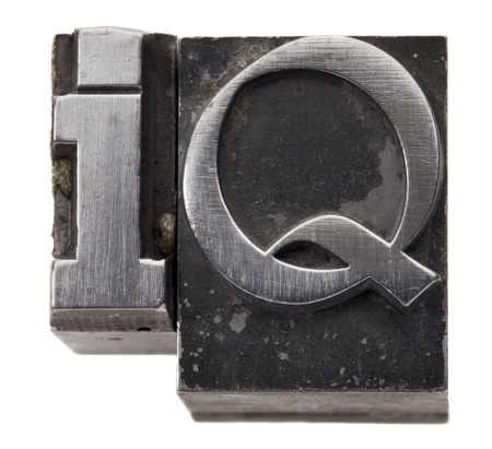 acronym: Intelligence quotient - IQ acronym - isolated symbol in vintage grunge metal type Stock Photo