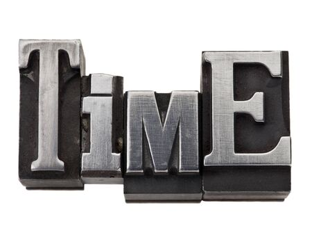 time  - isolated word in vintage grunge metal type Stock Photo - 12358983