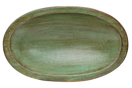 trencher: oval wood trencher dough bowl with green grunge finish isolated on white