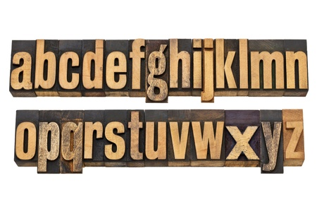 letterpress letters: full English alphabet, lowercase, in two isolated rows - vintage wood letterpress printing blocks