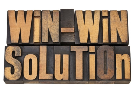 letterpress words: win-win solution - negotiation or conflict resolution concept - isolated words in vintage wood type