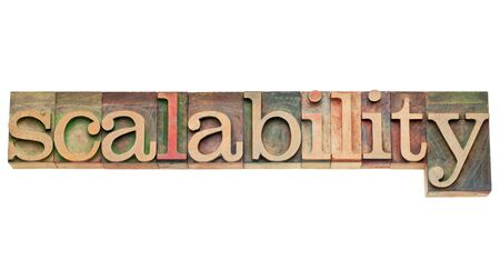scalability - computer system concept - isolated word in vintage letterpress wood type Stock Photo - 12358996