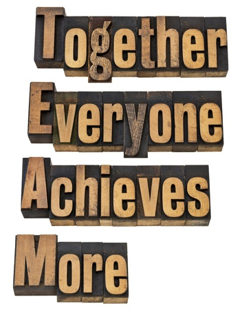 achieves: TEAM - together everyone achieves more - teamwork and cooperation concept - a collage of isolated words in vintage letterpress printing blocks Stock Photo