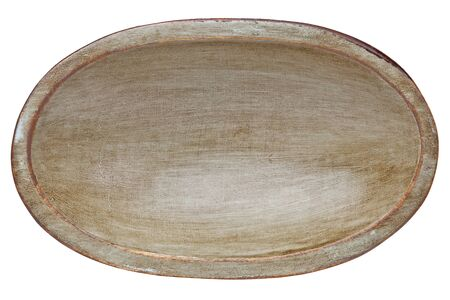 trencher: oval wood trencher dough bowl with gray and brown grunge finish isolated on white