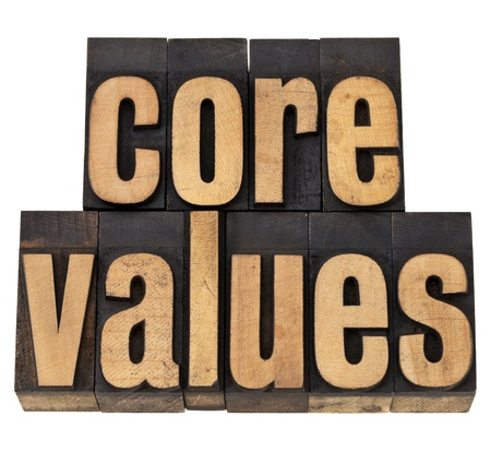 letterpress words: core values - ethics concept - isolated text in vintage letterpress wood type