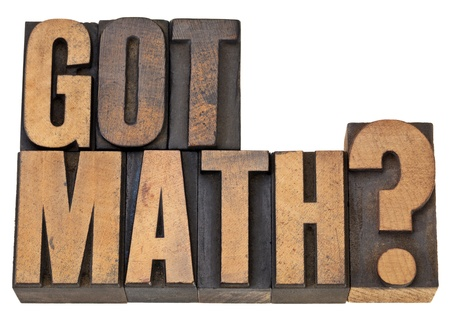 Got math question - isolated text in vintage letterpress wood type Stock Photo - 12358967