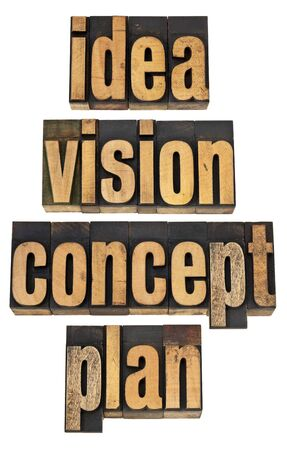 vision concept: idea, vision, concept and plan - a collage of isolated words in vintage letterpress wood type Stock Photo