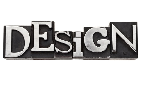 design - isolated word  in vintage letterpress metal type, mix of fonts Stock Photo - 12358962