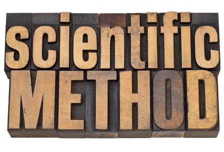 methods: scientific method - science concept - isolated text in vintage letterpress in wood type