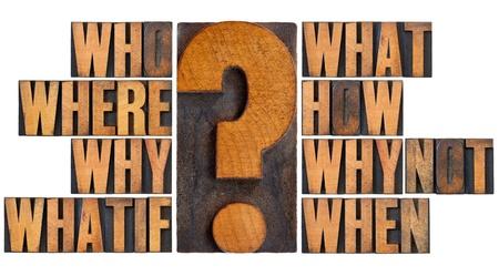 toma de decision: lluvia de ideas o la toma de decisiones concepto - qui�n, qu�, d�nde, cu�ndo, por qu�, c�mo y por qu� no WhatIf preguntas, un collage de palabras aisladas en el tipo de cosecha de madera de tipograf�a