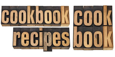 cookbook and recipes  - a collage of isolated words in vintage letterpress wood type Stock Photo - 12358971