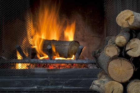 log on: fire in fireplace with a pile of log firewood
