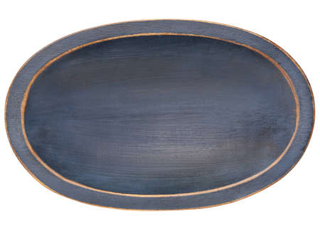 trencher: oval wood trencher dough bowl with blue grunge finish isolated on white