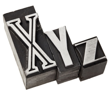 xyz: xyz - three last letters of alphabet (or Cartesian coordinates system) in vintage letterpress metal type