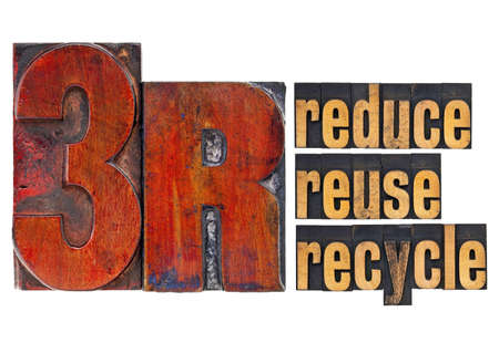 reduce, reuse, recycle - 3R concept - a collage of isolated words in  vintage letterpress wood type Stock Photo - 12674681