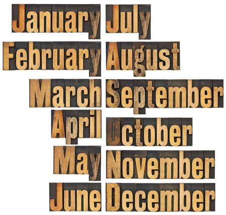 12 months from January to December - a collage of isolated words in vintage letterpress wood type blocks photo
