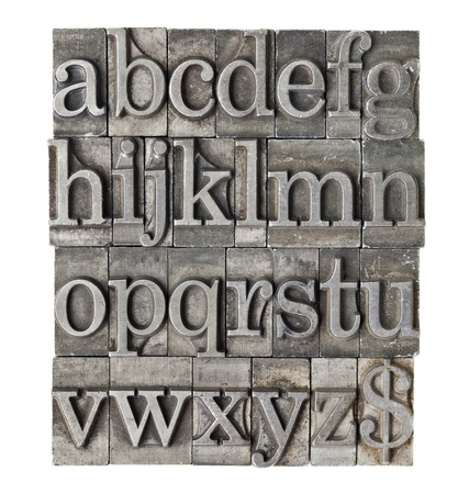English alphabet (lowercase) and dollar sign in vintage grunge lwtterpress metal type Stock Photo