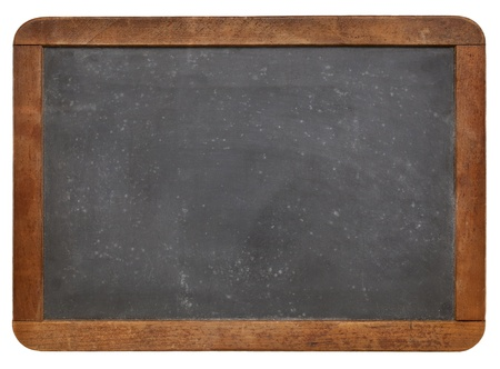slate texture: blank vintage slate blackboard with white chalk texture and wood frame isolated on white