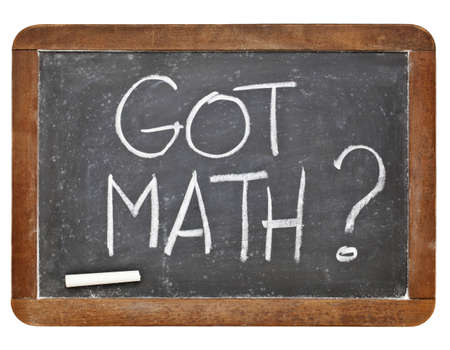 Got math question - white chalk handwriting on vintage slate blackboard isolated on white Stock Photo - 12674693