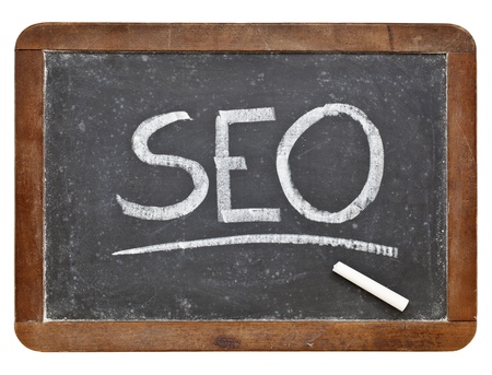 SEO acronym - search engine optimization - white chalk handwriting on vintage slate blackboard isolated on white Stock Photo - 12674696