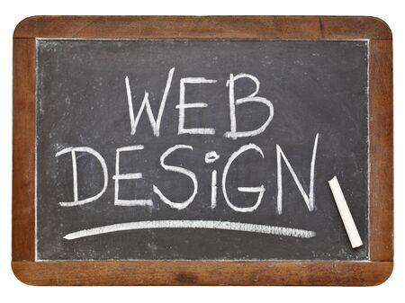 web design - white chalk handwriting on a vintage slate blackboard isolated on white Stock Photo - 12674699