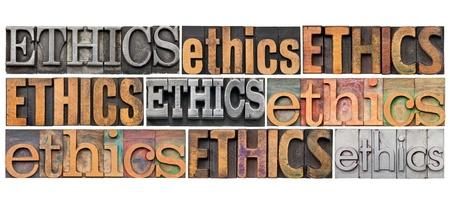 valores morales: la �tica del concepto - un collage de 9 palabras aisladas en metal diferente tipograf�a de �poca y los tipos de madera