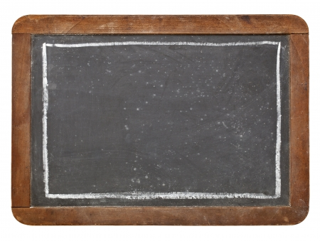 grunge vintage slate blackboard with white chalk rectangle, isolated on white