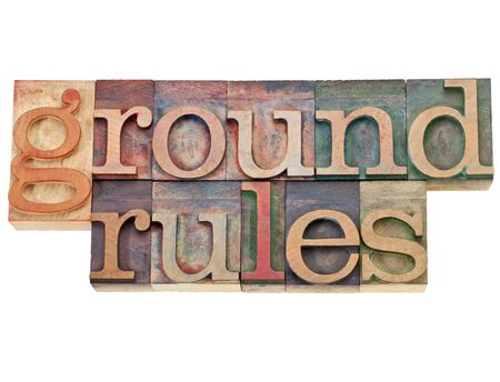 rules: ground rules - isolated phrase in vintage letterpress wood type