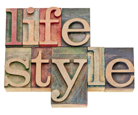 lifestyle - isolated word  in retro letterpress wood type Stock Photo - 12871233